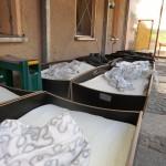 Betten unter der Terrasse-Freiluftschlaf